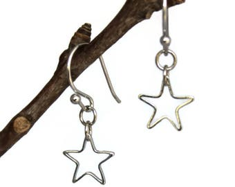 Star Silver Earrings Dangle Hollow Minimalist Tiny Dainty Jewelry Celestial Gift Teacher Anniversary Birthday Step Mother Sister Daughter