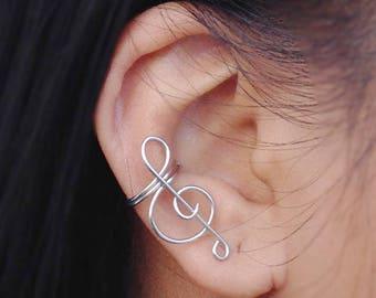 Ear Cuff Sterling Silver Treble Clef No Piercing Wire Earcuff Cartilage Earrings Best Seller Gift Daughter Music Teacher Friends Sister Wife