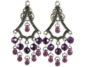 Chandelier Earrings Purple Wine Teardrop Beads Non-Pierced Ears Clip Ons Gift Graduation Birthday Anniversary Mother Teacher Mom Wife Friend
