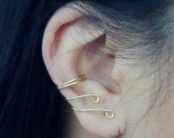 Ear Cuff 14K Gold Filled Wrap Around Earring Cartilage Earcuffs No Piercing Clip Minimalist Gift Daughters Sisters Nieces School Best Friend