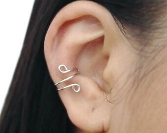 Ear Cuff Sterling Silver Tiny Loops Wire No Piercing Cartilage Earring Minimalist Jewelry Step Sister Teacher Best Friend Birthday Graduates