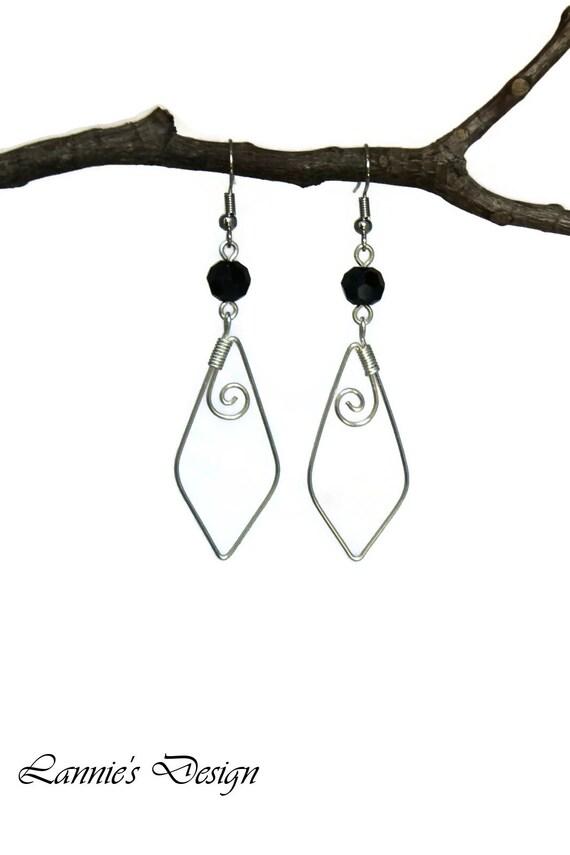 Short Bumble Bee Earrings Silver Hooks Handmade Glass Beads Pierced Ears