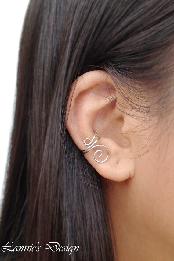Ear Cuff Black Wire Swirl No Piercing Cartilage Earring Simple Earcuff Gift for Her Daughter Coworker Best Friend Sister in Law Birthday