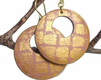 Hand Painted Blush Pink Dangle Earrings Brass Gold Black Tan Neutral Color Off-Set Circle Wooden Light Weight Clip Ons Weaved Rustic Safari