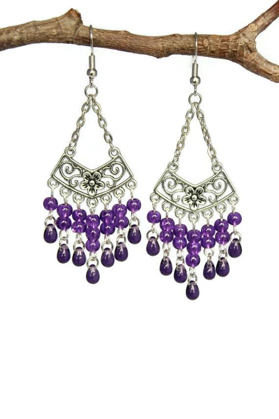 Purple Blue Choice of Stud Clip On Chandelier Earrings Hook or 925 Silver