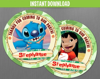 Disney Lilo & Stitch Favor Tags - Instant Download and Edit with Adobe Reader