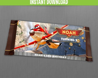 Disney Planes Fire and Rescue Birthday Chocolate Wrappers - Instant Download and Edit with Adobe Reader