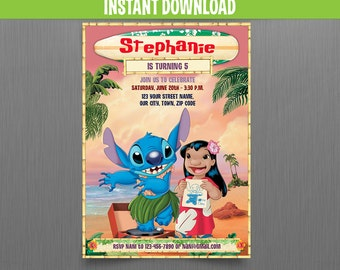 Disney Lilo and Stitch 5x7 in. Birthday Invitation - Instant Download and Edit with Adobe Reader