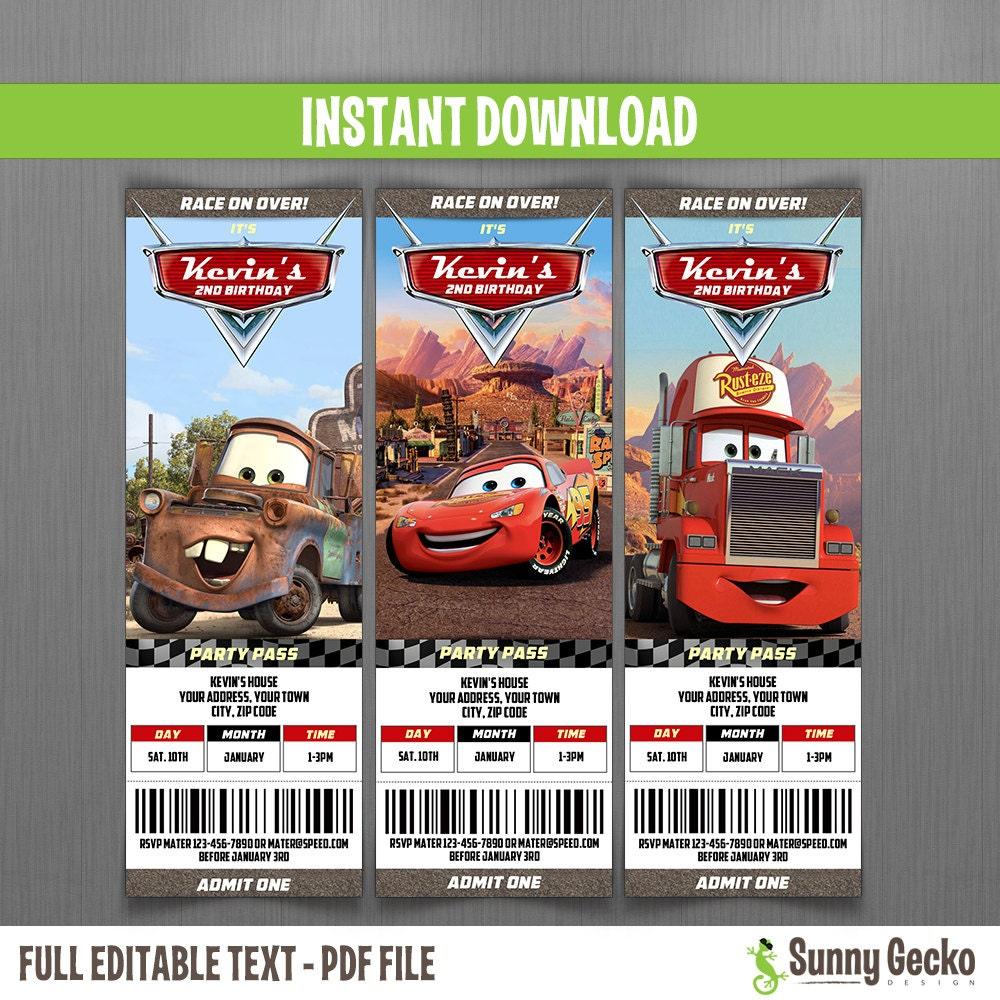 Ticket Invitaciones de Cumpleaños de Disney Cars Descarga | Etsy