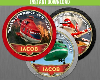 Disney Planes Fire and Rescue Birthday Favor Tags - Instant Download and Edit with Adobe Reader