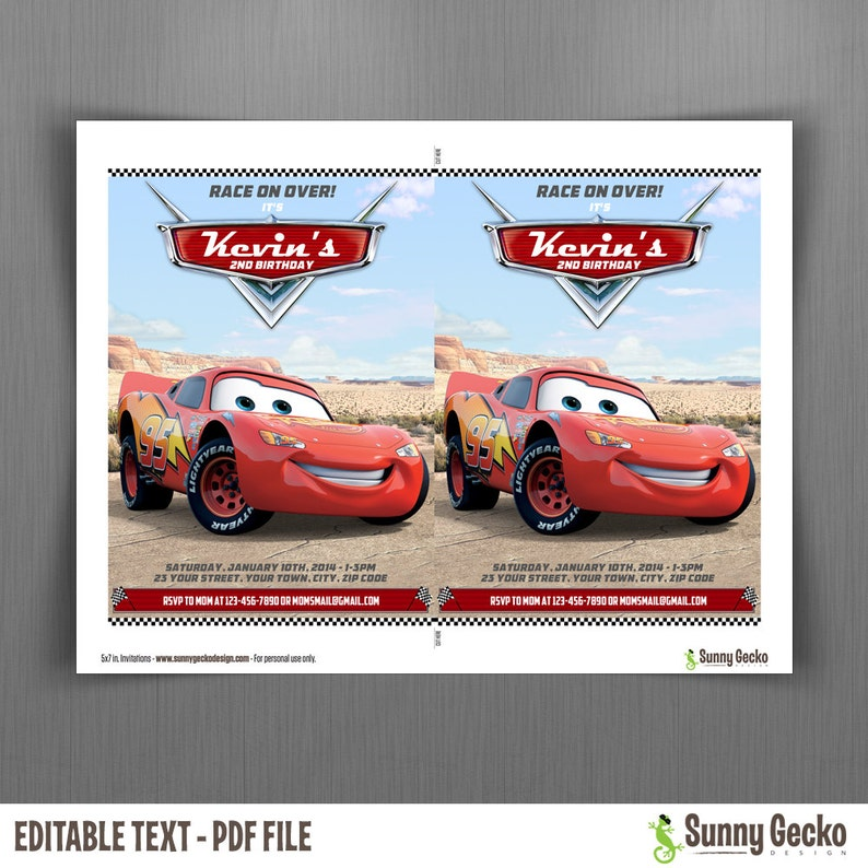 Instant Download and Edit with Adobe Reader Disney Cars Lightning McQueen Birthday Invitation