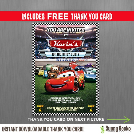 Disney Cars Lightning McQueen Birthday Invitation With FREE Editable Thank You Card