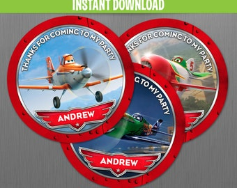 Disney Planes Birthday Favor Tags - Instant Download and Edit with Adobe Reader