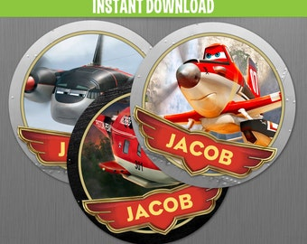 Disney Planes Fire and Rescue Birthday Labels - Instant Download and Edit with Adobe Reader