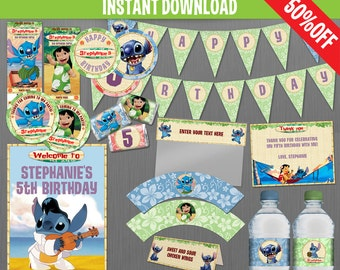 Disney Lilo and Stitch Birthday Party Collection - Instant Download and Edit with Adobe Reader