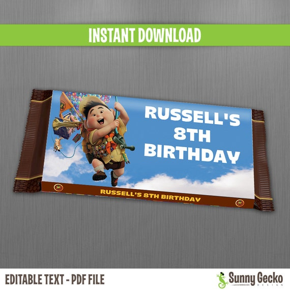 Disney Up Chocolate Wrappers - Instant Download - Edit and print at