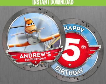 Disney Planes Birthday 2 in. Circle Labels - Instant Download and Edit with Adobe Reader