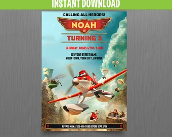 Disney Planes Fire and Rescue Birthday Invitation - Instant Download and Edit with Adobe Reader