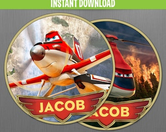 Disney Planes Fire and Rescue Birthday 5 inches Centerpieces - Instant Download and Edit with Adobe Reader