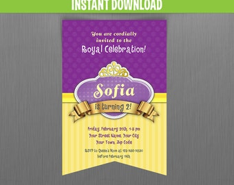 Disney Sofia the First Scroll Birthday Invitation - Instant Download and Edit with Adobe Reader