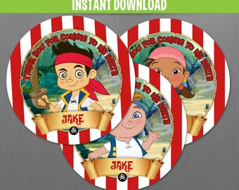 Disney Jake and the Neverland Pirates Favor Tags - Instant Download and Edit with Adobe Reader - Jake and the Neverland Pirates Birthday