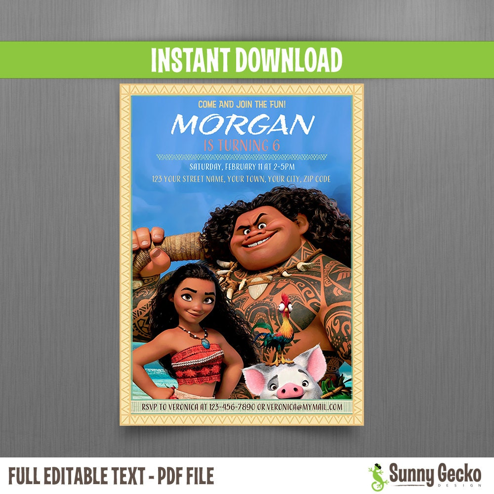 Disney Moana 5x7 In Birthday Invitation Instant Download