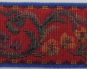 VINTAGE cotton Jacquard Tapestry Ribbon Trim Woven Jacquard Ribbon Red Blue yellow multi 1-1 2 quot