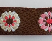 Limited Designer Woven jacquard Ribbon trim DAISIES pink flowers on brown 5 8 quot