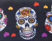 2 quot Grosgrain ribbon Sugar Skulls Day of The Dead Silky type shiny Poly