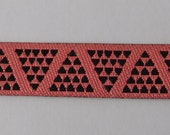 Narrow Designer Jacquard ribbon Trim Raspberry mini pyramids doll trim 10mm
