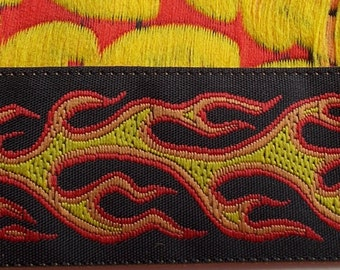 Narrow Red Yellow Black Floral Jacquard Ribbon Trim M119