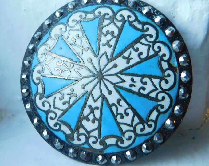 Spectacular large Antique Enamel /& cut steel Button~White on blue background~36mm