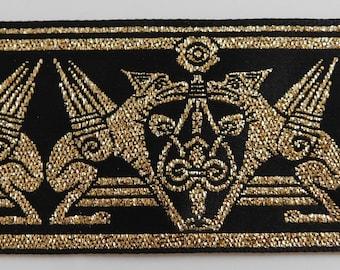2 yds Gold /& Lilac Jacquard Ribbon Trim for Garments Reenactment Costume Design  TR