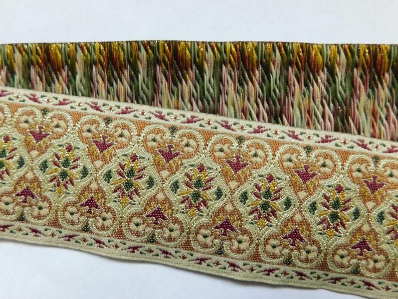 Jacquard Ribbon Trim  2 Regal Pattern Woven Jacquard Ribbon Renaissance Fair Costume Trim~light metallic cream