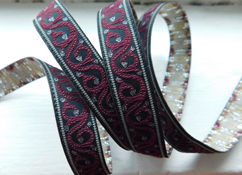 Narrow Jacquard Ribbon Trim Tape~burgundy~metallic silver~SWIRLS~716