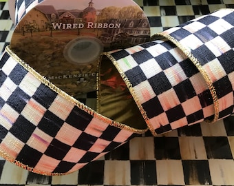 """BTY~Mackenzie Childs Courtly Check~Wire Edge Ribbon 2"""" Width~Sold By The Yard~metallic gold lame backing~Authentic"""