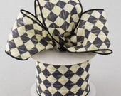 BTY 2.5 quot Harlequin wired ribbon diamond check black cream color streaks courtly jester wreath bows diy supply craft ribbon