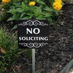 No Soliciting Sign Attached to a Sturdy Aluminum Stake. Perfect sign for flower pots, planter boxes or flower beds. FREE SHIPPING