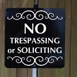 NO TRESPASSING or SOLICITING Yard Sign with attached yard stake. Free Shipping