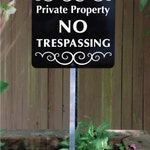 Private Property NO TRESPASSING Yard Sign with attached yard stake. Ships FREE
