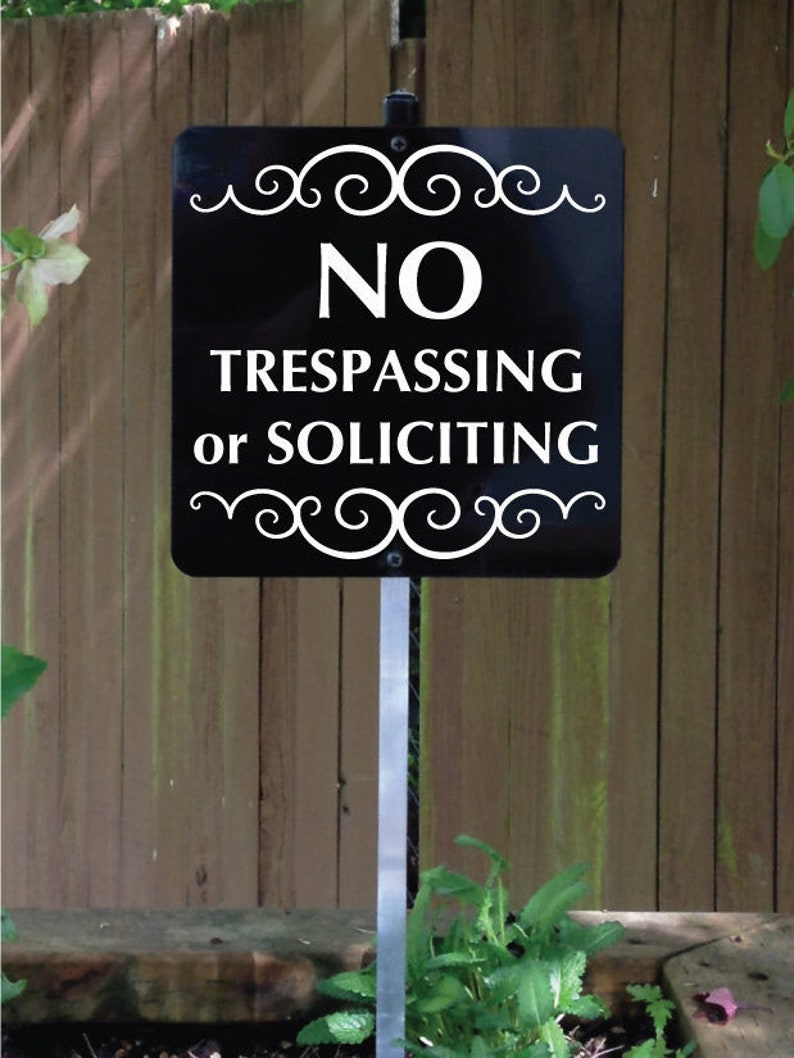 NO TRESPASSING or SOLICITING Yard Sign with attached yard image 0