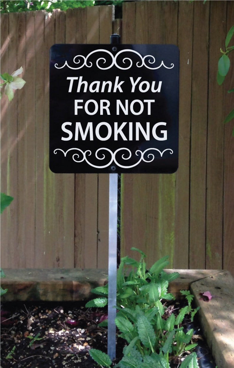 Thank You For Not Smoking Sign with attached display stake. No image 0