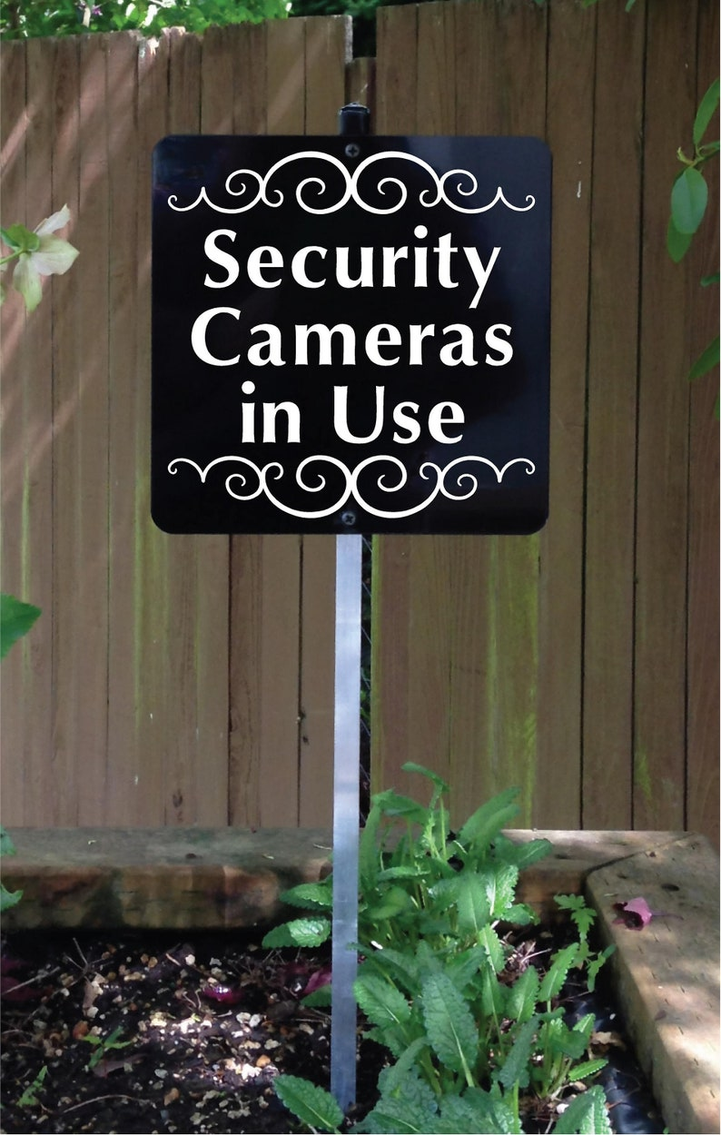 Security Cameras in Use Metal Sign attached to sturdy yard image 0