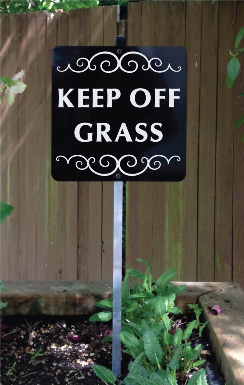 KEEP OFF GRASS Yard Sign with attached yard stake. Ships Free image 0