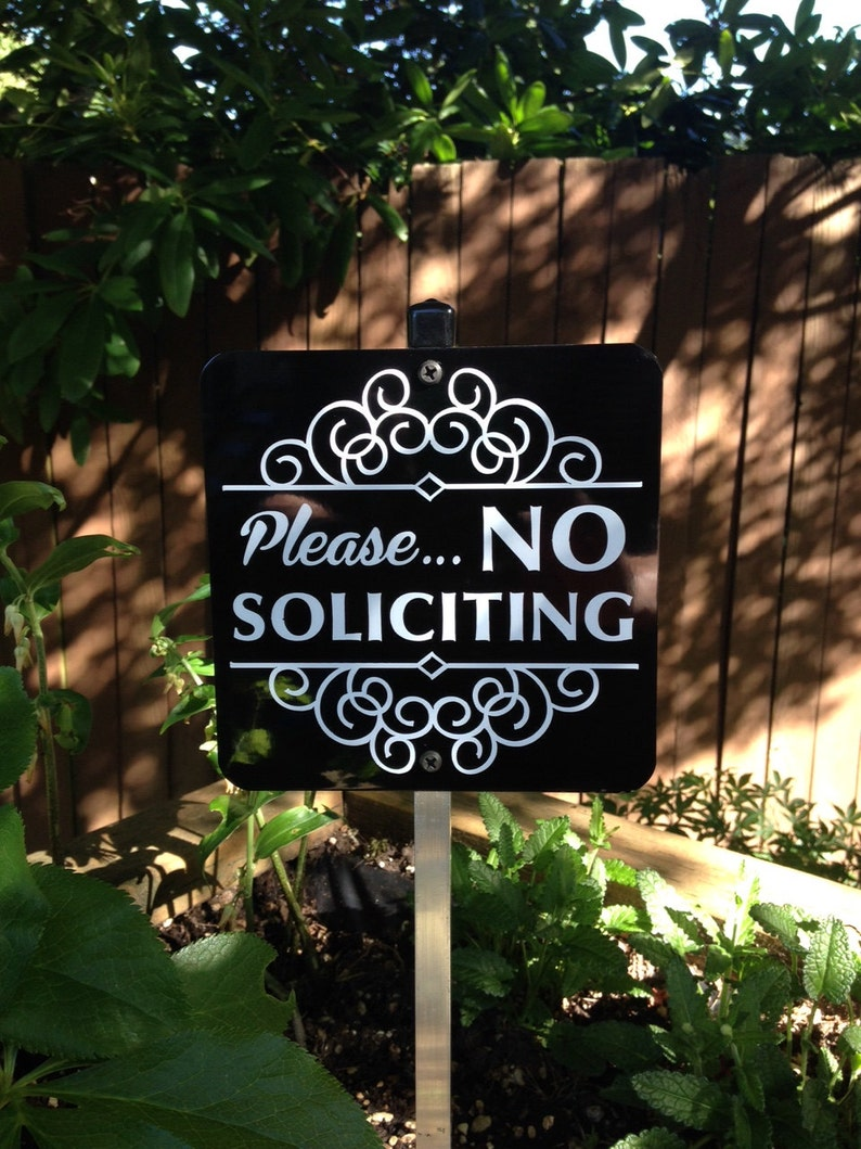 Please No Soliciting Sign Attached to a Sturdy Aluminum Yard image 0