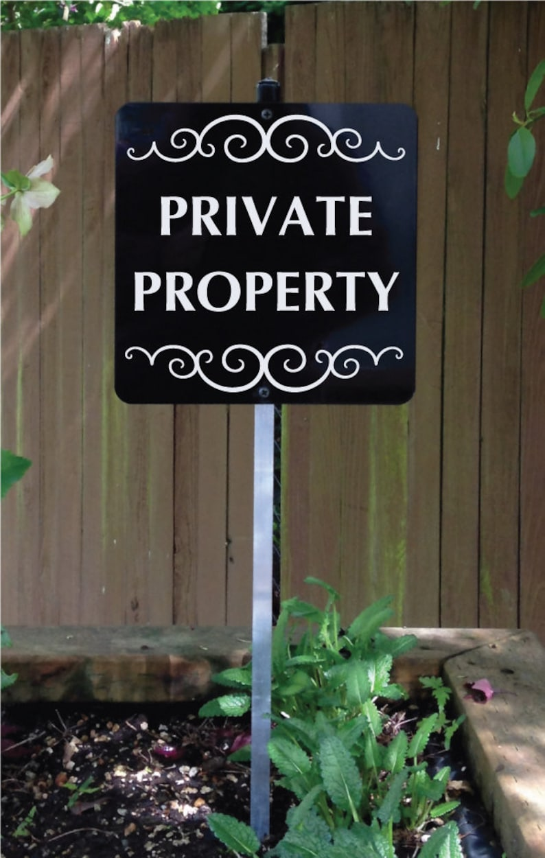 PRIVATE PROPERTY Sign with attached yard stake. Sturdy all image 0