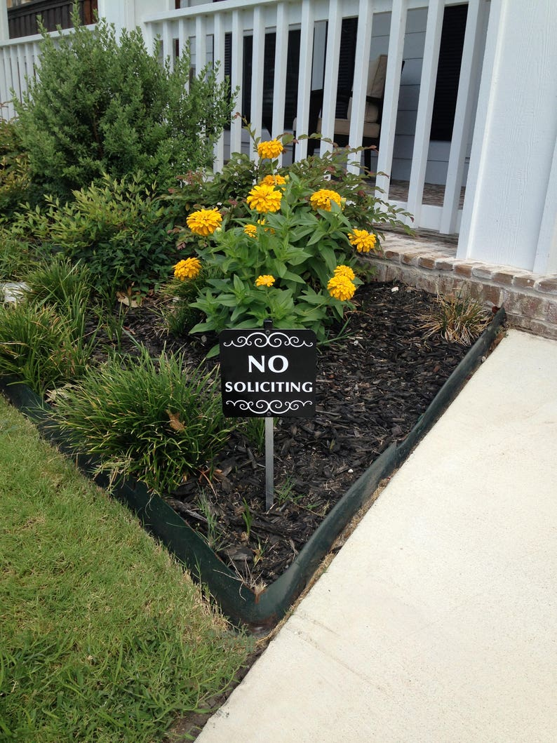 No Soliciting Sign Attached to a Sturdy Aluminum Stake. image 0