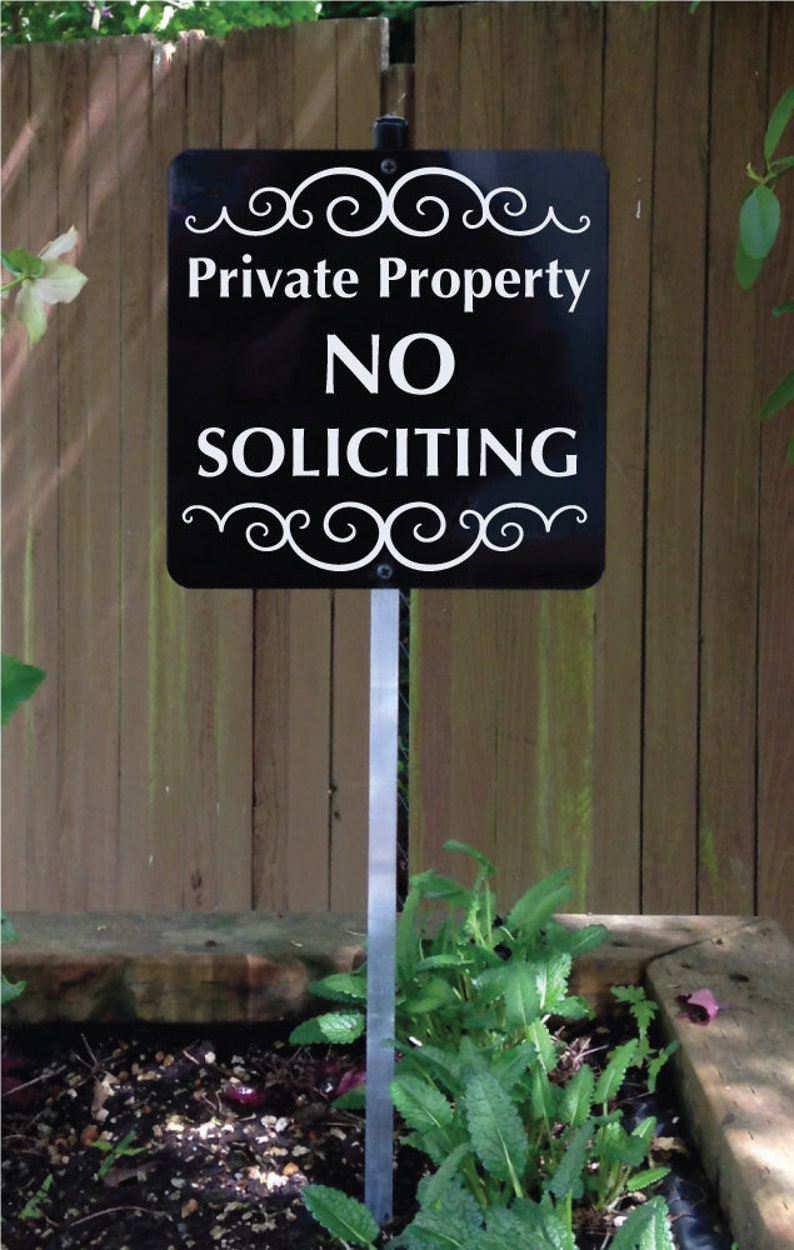 Private Property NO SOLICITING Sign for your yard with image 0