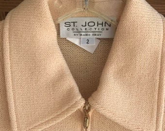 Vintage ST JOHN Gold /& Ivory Jacket Santana Knit Luxe Chic Luxury Fits M-L