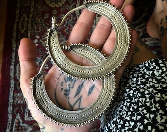 Old tribal fine silver SAW BLADE Earrings from Pakistan